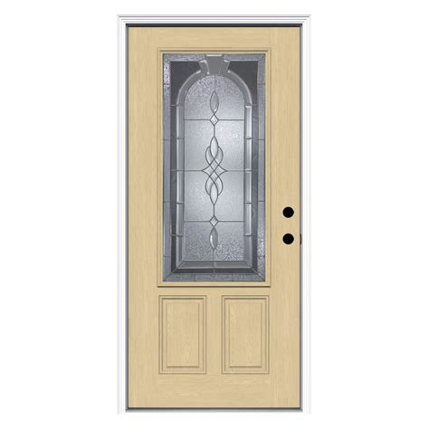 Shop Reliabilt Hton Decorative Glass Left Hand Inswing Prehung Fiberglass Exterior Doors