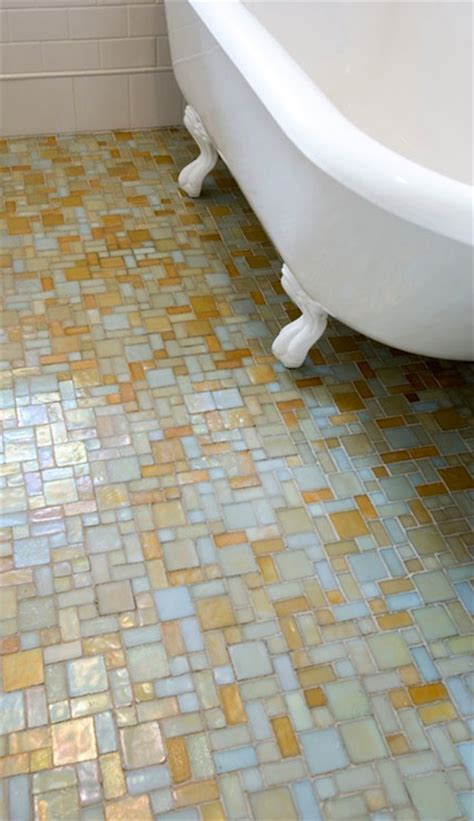 Bathroom Mosaic Floor Tile by Mosaic Glass Tile Floor Eclectic Bathroom