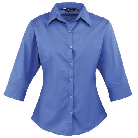 Blouse 7 8 Sleeves new premier womens 3 4 sleeve poplin blouse shirt in 8 colours size 6 26 ebay
