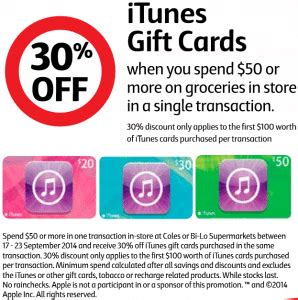 Bi Lo Gift Cards - expired save 30 off itunes gift cards at coles and bi lo gift cards on sale