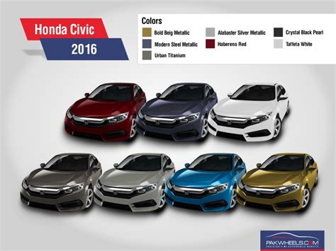 2016 honda civic revealed in all 7 colors pakwheels
