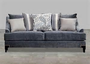 contemporary slate blue fabric sofa with nailhead trim