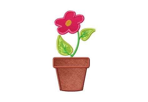 design of flower pot flower pot machine applique and stitched embroidery design