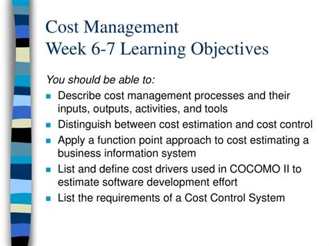 7 Things To Learn To Be Less Co Dependent by Ppt Cost Management Week 6 7 Learning Objectives