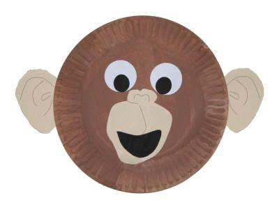 Monkey Paper Plate Craft - monkey paper plate or mask for rainforest unit