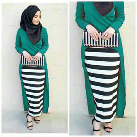 On Sale Setelan Stripe baju muslim setelan 3in1 model terbaru murah