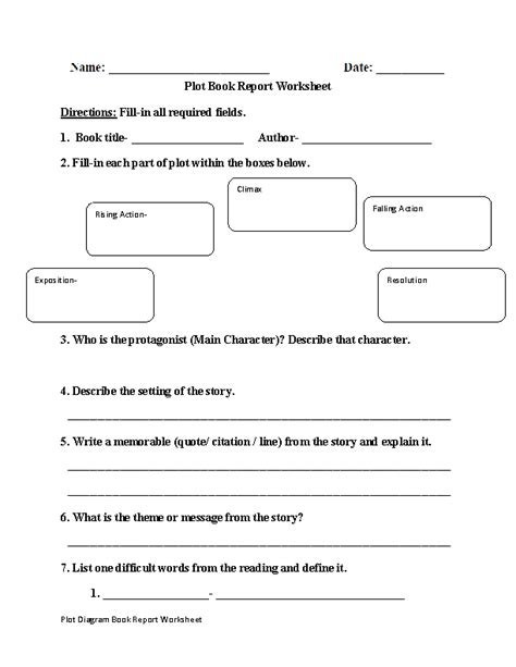 Englishlinx Com Plot Worksheets Book Report Template 7th Grade