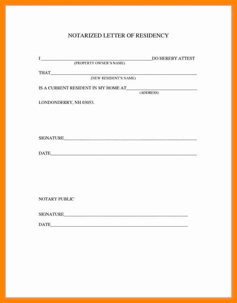 notarized document template notarized letter of residency template hunecompany