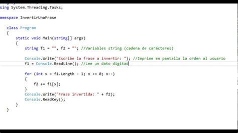 invertir cadenas en c palabra al rev 233 s invertir una frase en c youtube