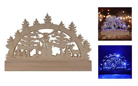 holz schwibbogen  leds blau lichterbogen weihnachtsdeko