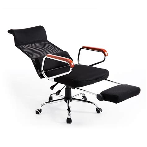 Reclining Office Chair With Leg Rest by Aosom Homcom Mesh High Back Reclining Office Chair With