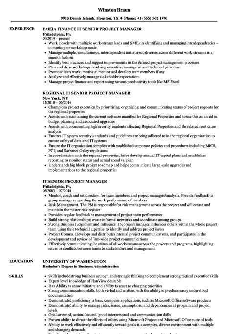 Senior It Project Manager Resume by Senior Project Manager Resumes Application Development