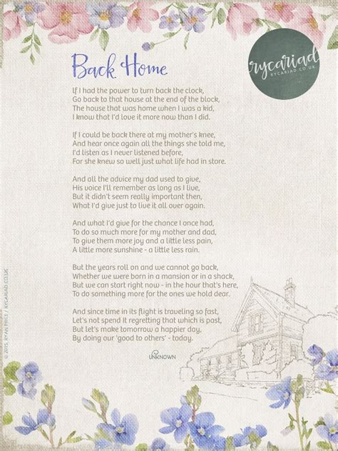 finding a place to call home poems and thoughts on belonging and coping with books rycariad here s a poem called back home by an unknown