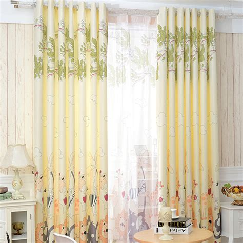 Yellow Patterned Curtains Soft Yellow Zoo Patterned Nursery Curtains