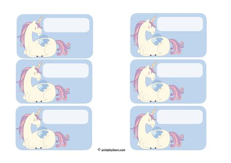 Unicorn Page 1 Free Teaching Resources Print Play Learn Unicorn Label Template
