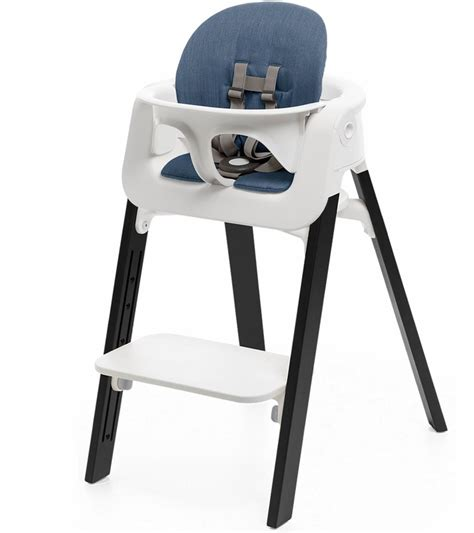 Stokke High Chair Second by Stokke Steps Chair Cushion No Tray White Oak Black Blue
