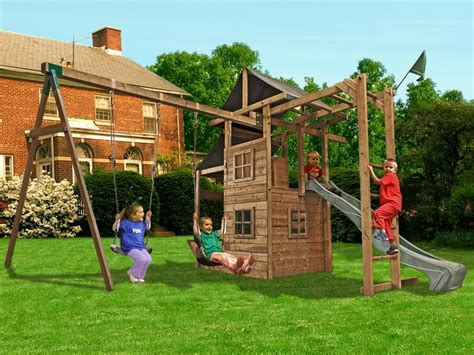 outdoor slides and swings dunster house manorfort stronghold outdoor wooden climbing