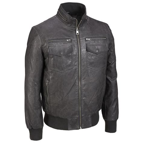 Stand Collar Faux Leather Jacket black rivet mens stand collar faux leather bomber jacket