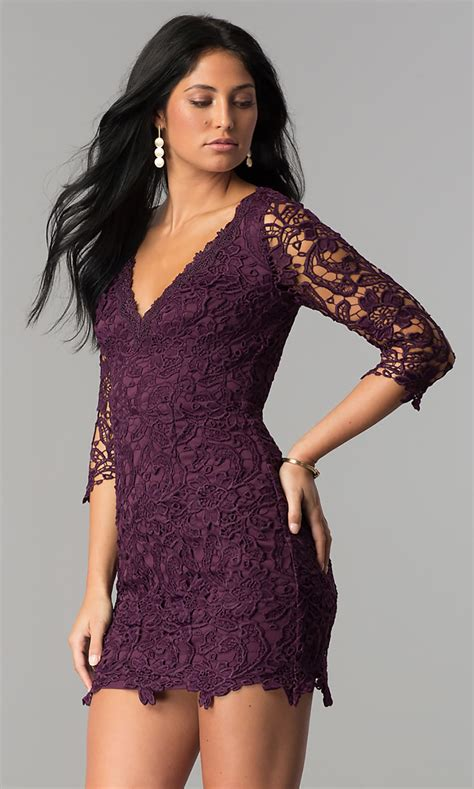 lace graduation short party dress  sleeves