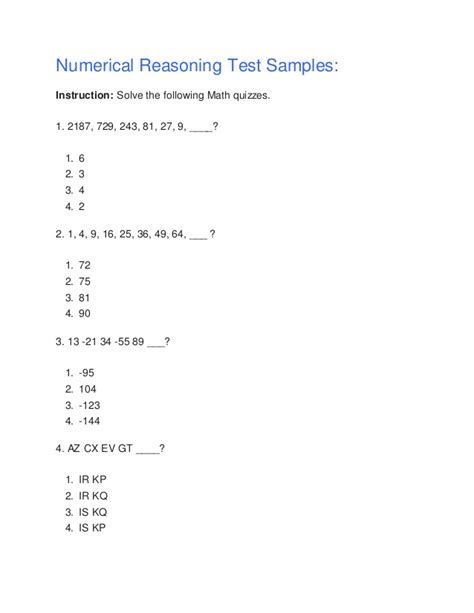 Mat Reasoning Questions by Numerical Reasoning Test Sles