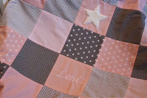 gro 223 e patchworkdecke rosa mit name personalisiert