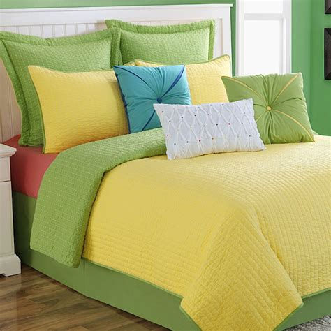 Yellow Coverlets dash yellow lime reversible coverlet set by
