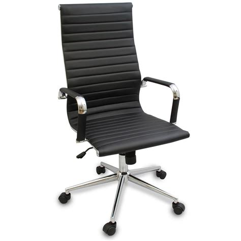 New Black Modern Ergonomic Ribbed High Back Executive Modern Office Desk Chair