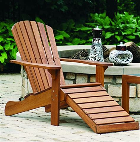 chair with built in ottoman outdoor interiors cd3111 eucalyptus adirondack chair and
