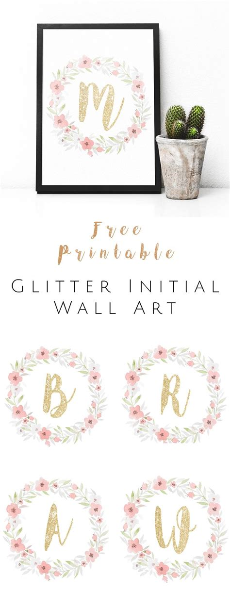 free printable monogram wall art free printable glitter initial wall art watercolor and
