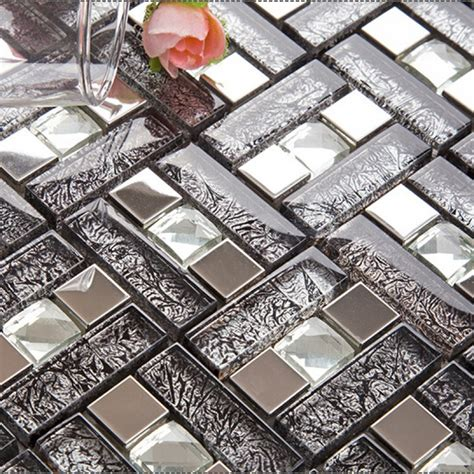 Kitchen Backsplash Ceramic Tile Silver 304 Stainless Steel Mosaic Tile Black Crystal Glass