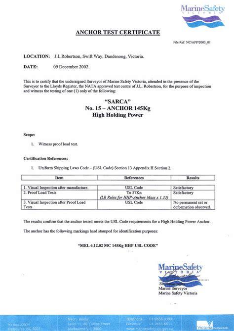 certificate test sarca certification anchorright au