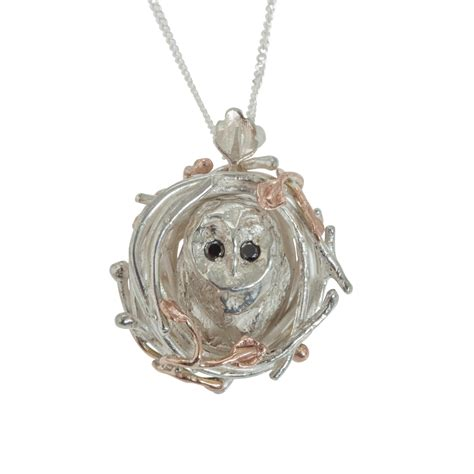 Barn Owl Necklace by emily barn owl necklace black diamonds in metallic lyst