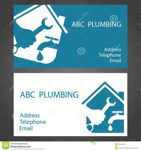 plumbing business card templates design business cards for plumbers stock vector