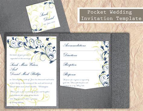 pocket wedding invitation template pocket wedding invitation template set diy by