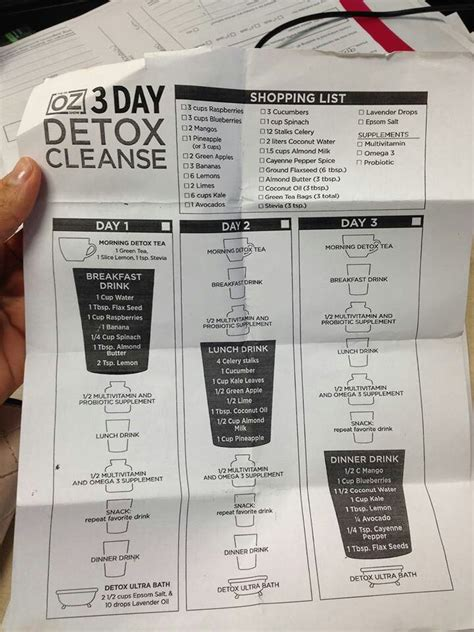 Dr Oz Clean Detox Menu by Detox 3 Day Detox And Smoothies On