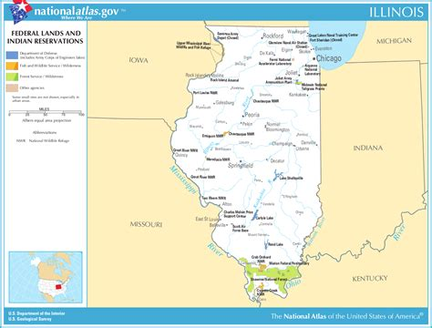 illinois on the map of usa map of illinois map federal lands and indian reservations