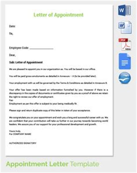 Appointment Letter And Regulations Letters And To The On