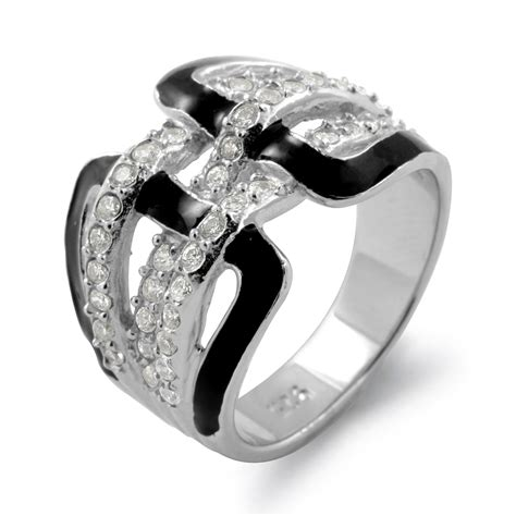 Silver Ring With Cubic Zirconia P 1008 black onyx anniversary cubic zirconia wedding band sterling silver ring ebay