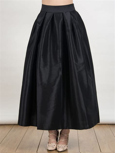 black high waist plain maxi skirt choies