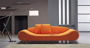 contemporary orange harmony sofa with unique shape prime