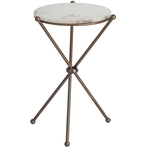 accent side tables chloe antique brass marble modern round accent side table