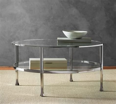 Tanner Round Coffee Table Polished Nickel Finish Potterybarn Coffee Table