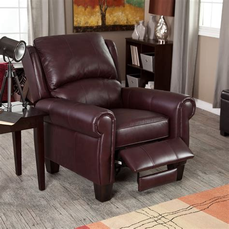leather chairs living room leather recliner chair home burgundy push back wingback