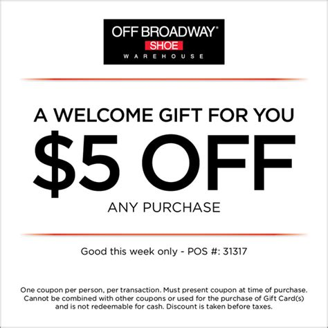 Promo 5 Free 1 broadway shoes 5 printable coupon