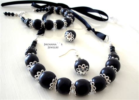 Beautiful Handmade Necklaces - beautiful beaded black handmade jewelry set with black