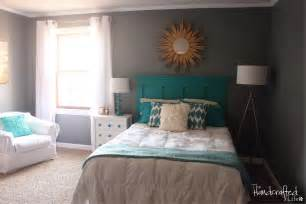 teal bedrooms the handcrafted life teal white and grey guest bedroom reveal