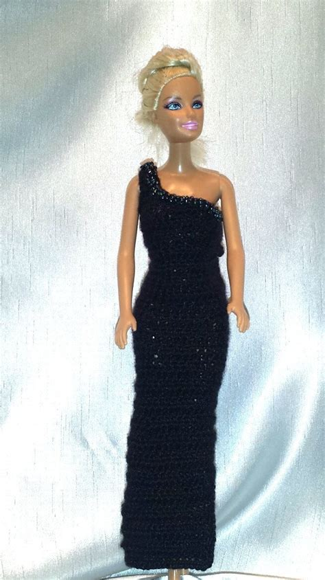 Crochet Evening Gown crochet clothes fashion doll dress black evening