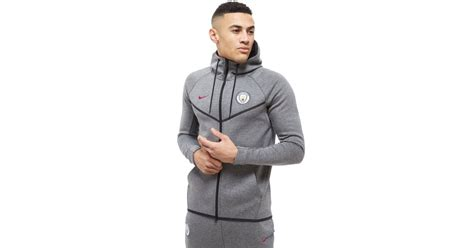 Sleeveles Hoodie Manchester City lyst nike manchester city fc tech fleece hoodie in gray for
