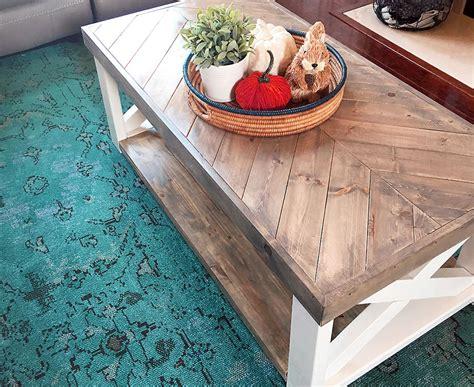 Inexpensive Bathroom Ideas The Look For Less Farmhouse Herringbone Coffee Table