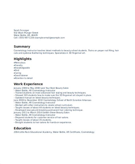 cosmetology cover letter sles cover letter for cosmetology instructor resume